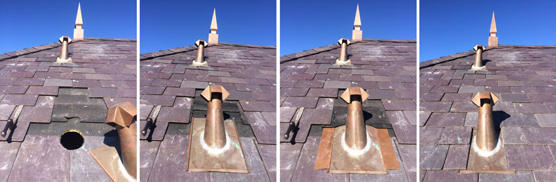 The Roof Doctors install a copper pipe flashing on a slate roof.